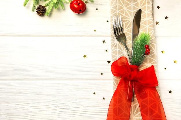 Decoração de mesa de jantar de natal