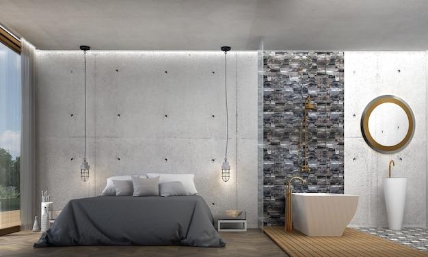 Decoração de mobília e interior de quarto moderno e aconchegante e fundo de parede de concreto