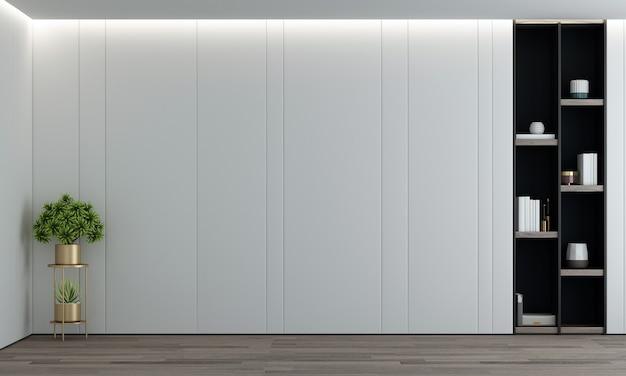 Decoração de móveis de design de interiores moderno e aconchegante e tela de quadro vazio de sala de estar vazia e renderização em 3d de parede Foto Premium