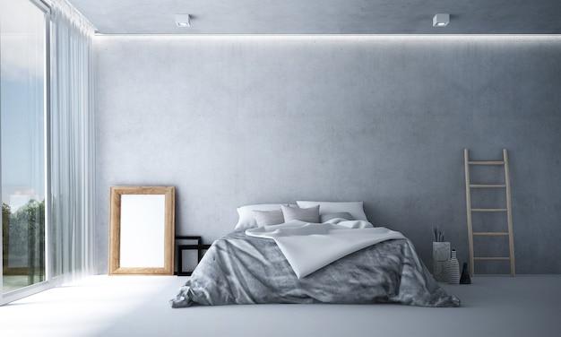 Decoração de móveis e interiores de quartos modernos e fundo vazio de parede de concreto