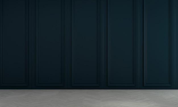 Decoração de móveis e interiores modernos em azul de sala de estar e fundo de padrão de parede vazio