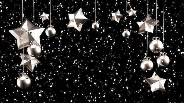 Decoração de natal com brilhos de prata. ilustração 3d, renderização em 3d.