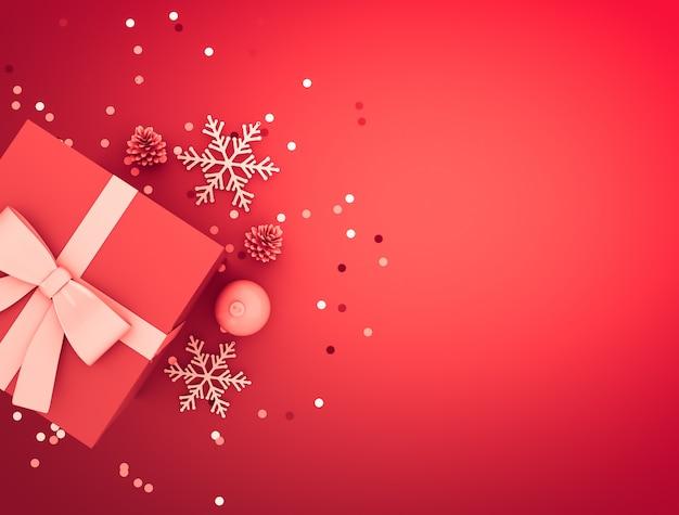 Decoração de natal com caixa de presente, bola, pinha, confete e flocos de neve.