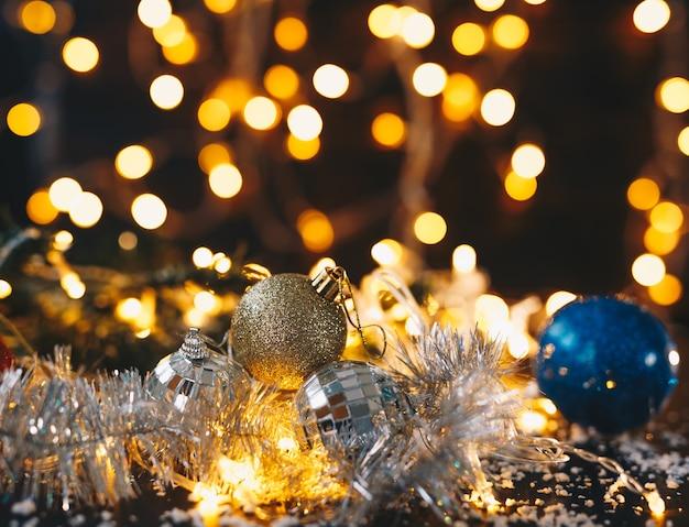 Decoração de natal com luzes bokeh