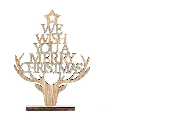 Decoração de natal de artesanato em madeira com desejamos-lhe uma placa de feliz natal