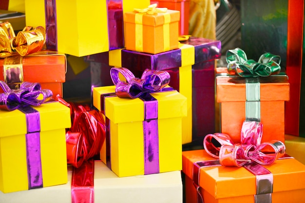 Decoração de natal de caixas de presente apresenta, fundo de celebração