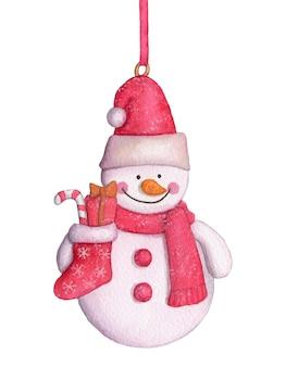 Decoração de natal e ano novo em aquarela. boneco de neve com uma meia de natal.
