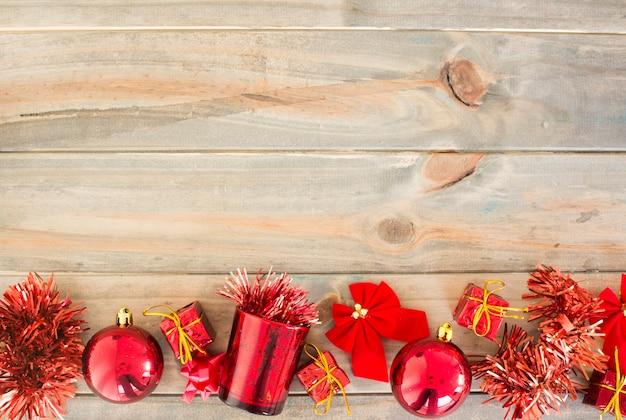 Decoração de natal na placa de madeira