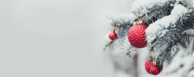Decoração de natal ramos de árvore do abeto, enfeites vermelhos com neve. 2020 feliz natal e ano novo fundo de férias.