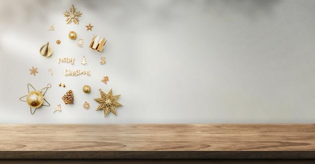 Decoração de objetos de natal em forma de árvore de natal na parede com sombra de luz do sol na parede sobre a mesa