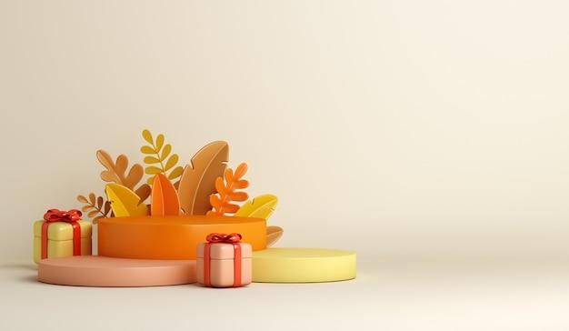 Decoração de outono de fundo de pódio com folhas de laranja e caixa de presente