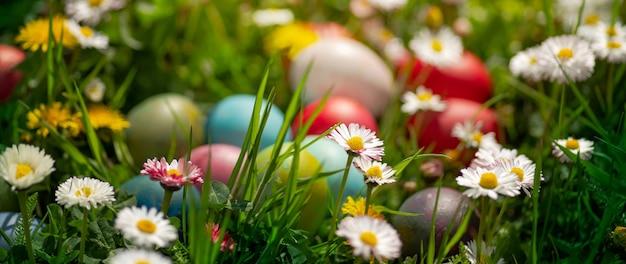 Decoração de ovos de páscoa no jardim ao ar livre