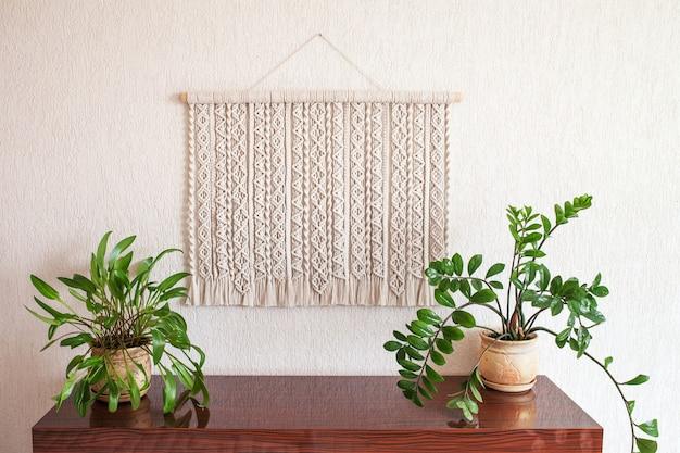 Decoração de parede de algodão macramê 100 feita à mão eco amigável tricô moderno