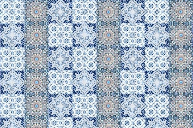 Decoração de parede de azulejos vintage. fundo da parede de azulejos turcos