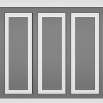 Decoração de parede glay clássica, renderização em 3d