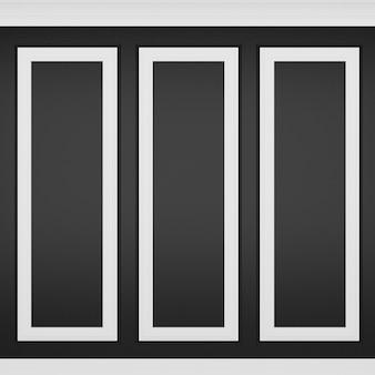Decoração de parede preta clássica, renderização em 3d
