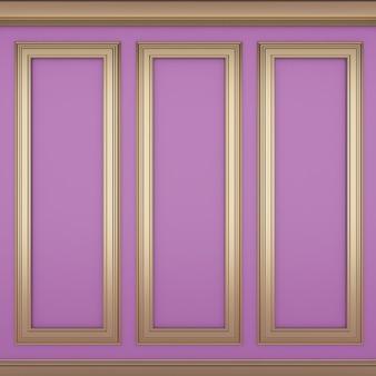 Decoração de parede rosa clássica, renderização em 3d