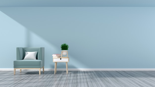 Decoração de parede sala de estar na poltrona reclinável e uma pequena mesa