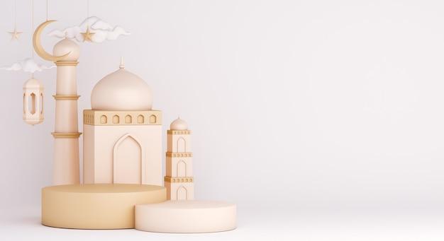 Decoração de pódio islâmico com mesquita e lanterna árabe