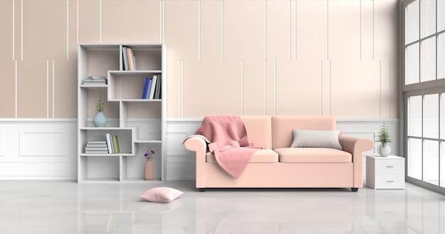 Decoração de quarto branco-laranja com sofá, almofadas, mesa de cabeceira, estante, cobertor, janela, parede.