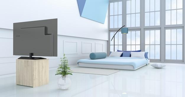 Decoração de quarto branco luz azul cama, travesseiros, janela, lâmpada azul, travesseiro, parede, tv.