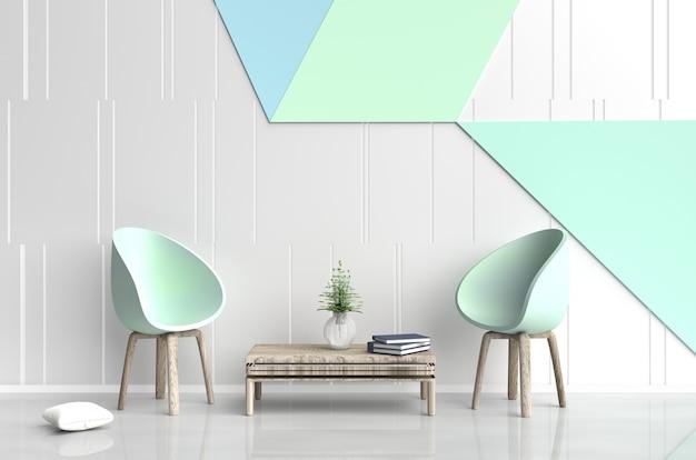 Decoração de quarto branco-verde com dois verde cadeira, travesseiro, livro, parede de cimento branco e verde. 3d