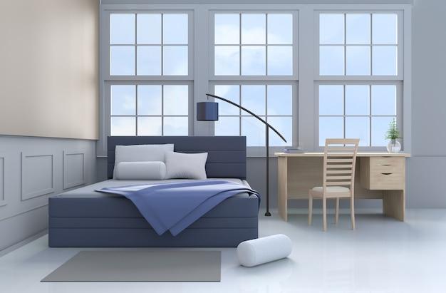Decoração de quarto de cama com travesseiros, cobertor azul, janela, lâmpada, escrivaninha, livro, cama azul, almofada, cadeira. 3