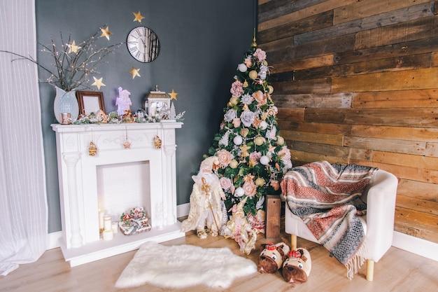 Decoração de quarto interior de ano novo ou natal.