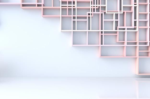 Decoração de quarto pastel rosa vazio com prateleiras de parede, piso de ladrilho, render 3d