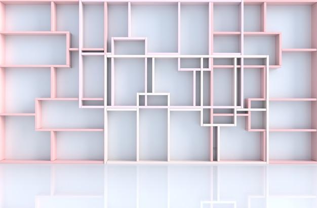 Decoração de quarto rosa pastel vazia com parede de prateleiras rosa, render 3d