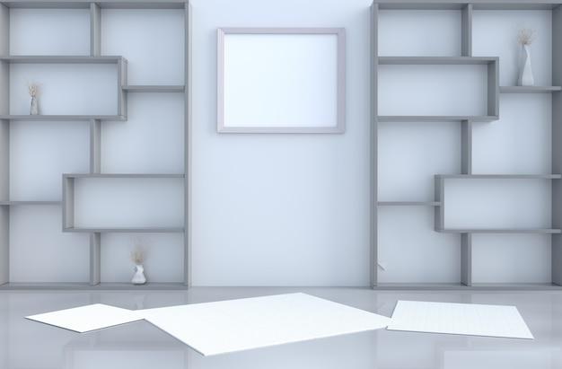 Decoração de quarto vazio cinza com parede de prateleiras, render 3d