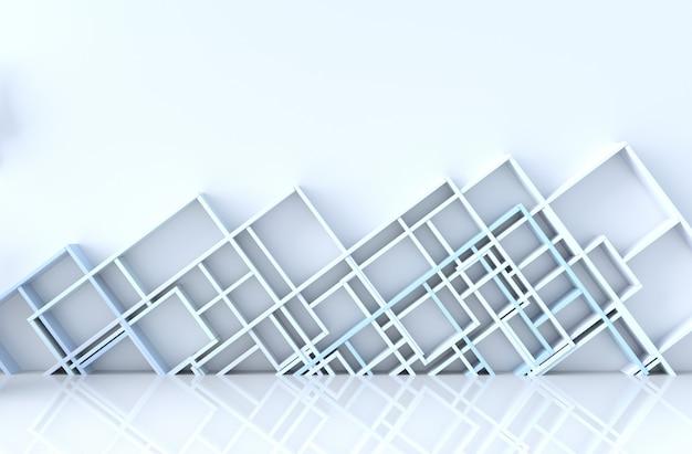 Decoração de quarto vazio de azul e branco com parede de prateleiras azuis, render 3d