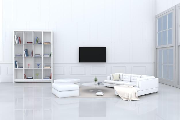 Decoração de sala branca com sofá branco, travesseiros de creme, estante, televisão, tapete. 3d r