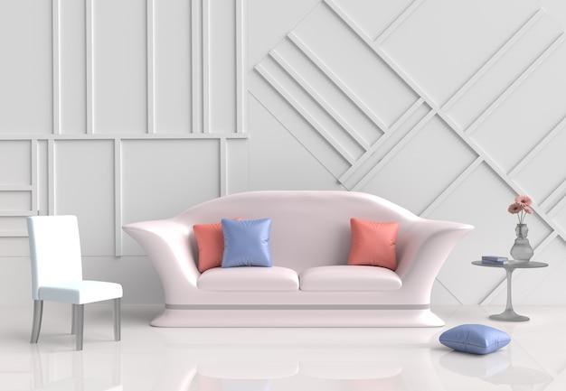 Decoração de sala de estar branca com sofá cor-de-rosa, flor, travesseiros, cadeira, parede é um padrão. 3d ren