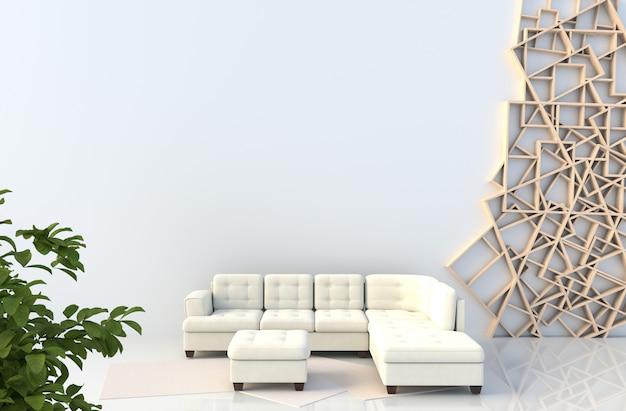 Decoração de sala de estar branca com sofá, parede de prateleiras de madeira