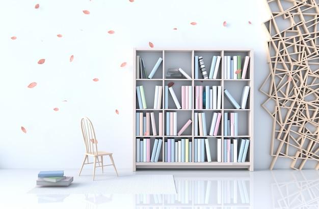 Decoração de sala de leitura branca quente com parede de cimento branco