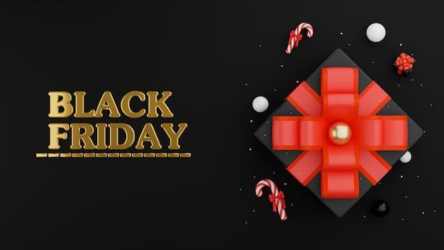 Decoração de sexta-feira negra com caixa de presente em renderização 3d