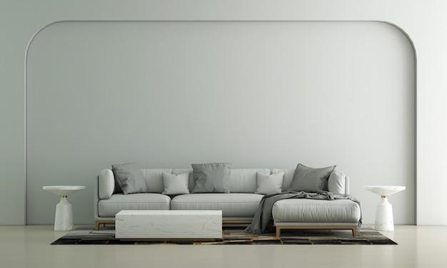 Decoração de sofá moderna e interior aconchegante de sala de estar e fundo vazio de parede padrão