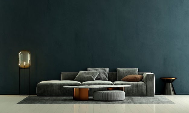 Decoração de sofá moderna e interior de sala de estar e fundo de padrão de parede verde vazio