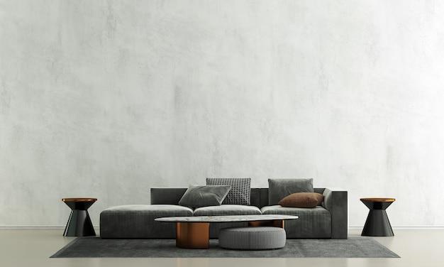 Decoração de sofá moderna e interior de sala de estar e fundo de parede de concreto
