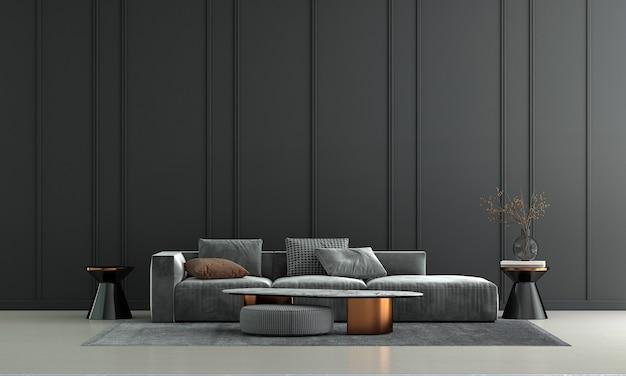Decoração de sofá moderna e interior de sala de estar e fundo preto padrão de parede
