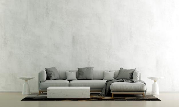 Decoração de sofá moderna e interior de sala de estar e fundo vazio de parede de concreto