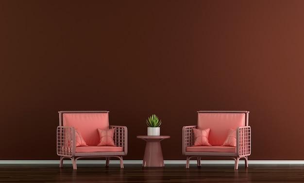 Decoração de sofá moderna e interior vermelho de sala de estar e fundo de padrão de parede vazio