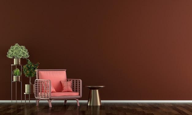 Decoração de sofá vermelho moderno e interior de sala de estar e fundo vermelho padrão de parede