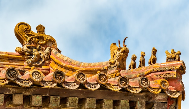 Decoração de telhados na cidade proibida, pequim - china