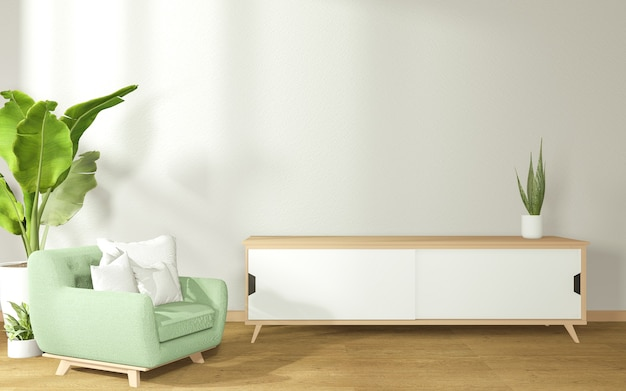 Decoração de uma sala de estilo japonês, composta por poltrona e armário em uma sala com paredes de concreto. renderização 3d
