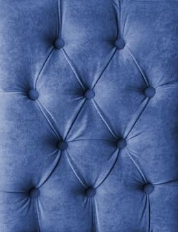 Decoração de veludo treinador de tecido macio xadrez capitone azul com botões