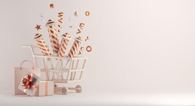 Decoração de venda de feliz ano novo com caixa de presente de fogo de artifício para carrinho de compras