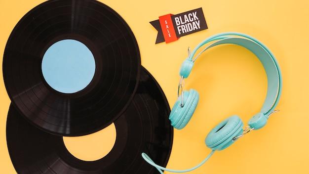 Decoração de vinil e fone de ouvido para sexta-feira preta