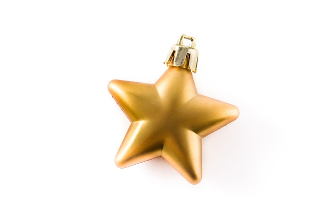 Decoração dourada de estrela de natal isolada no branco